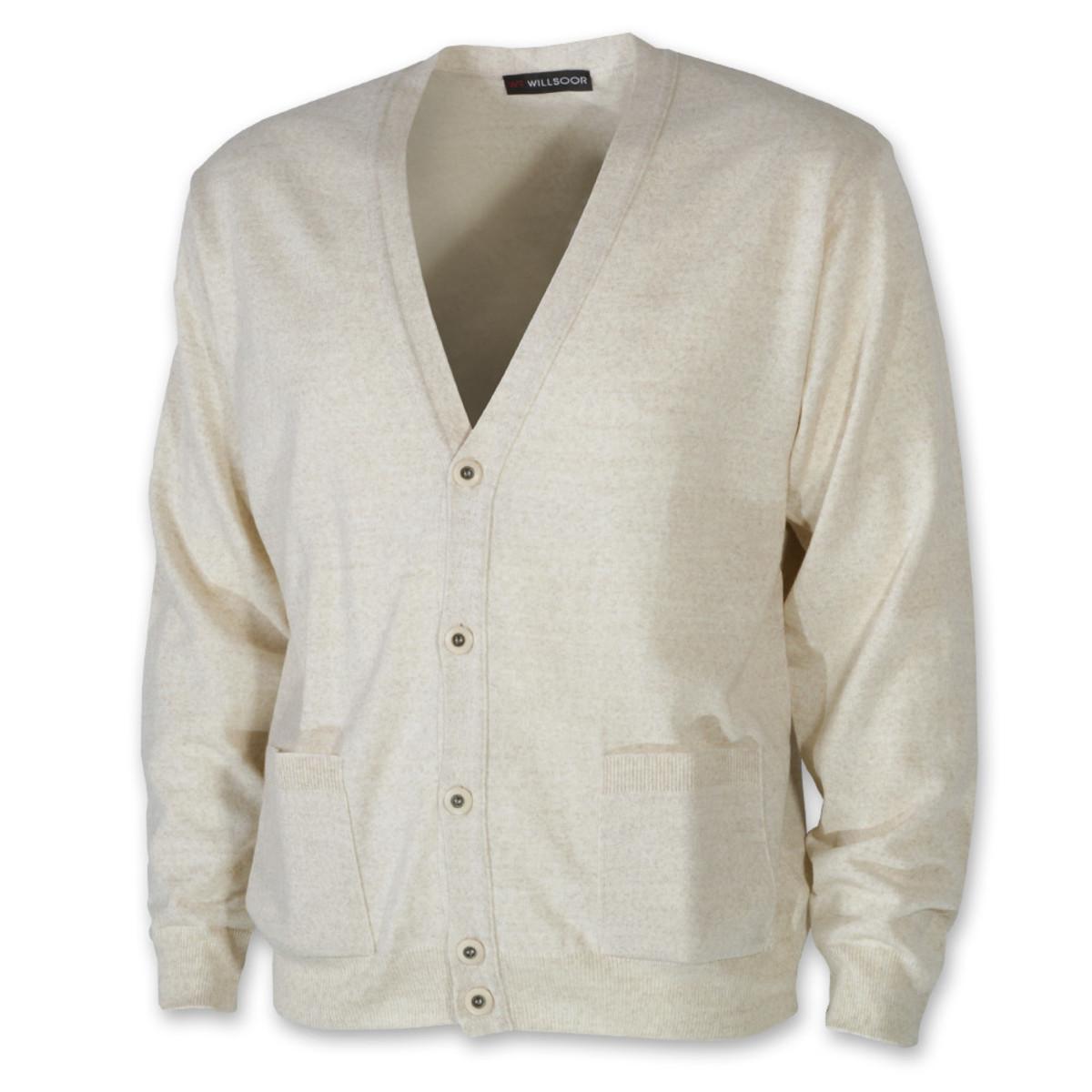 Pánsky sveter cardigan béžový 10276 XL