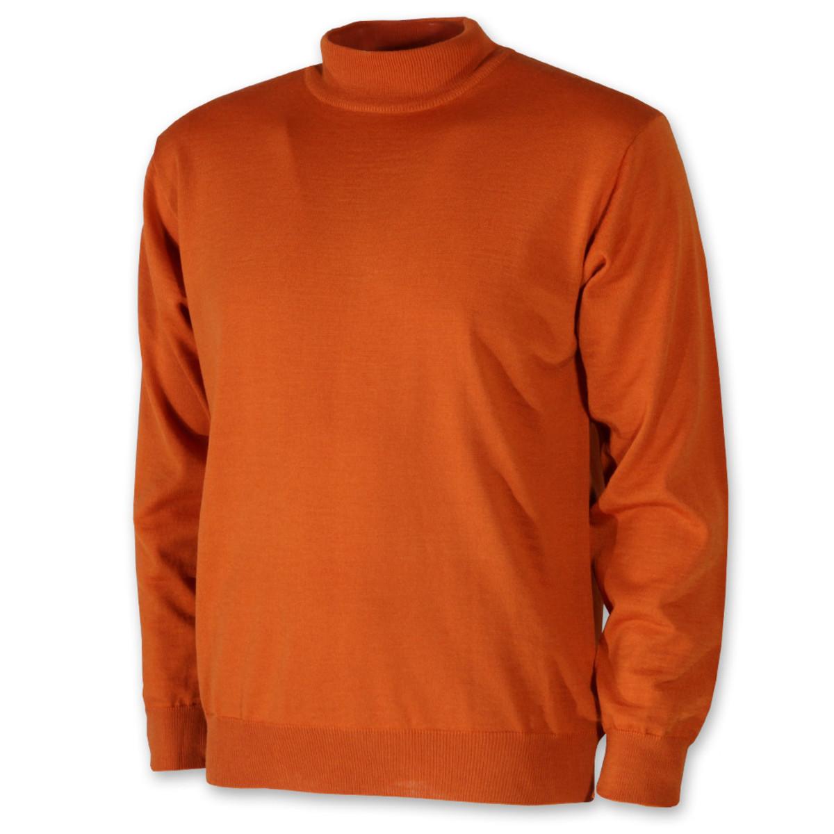 Pánsky sveter s rolákom oranžový 10370 XL