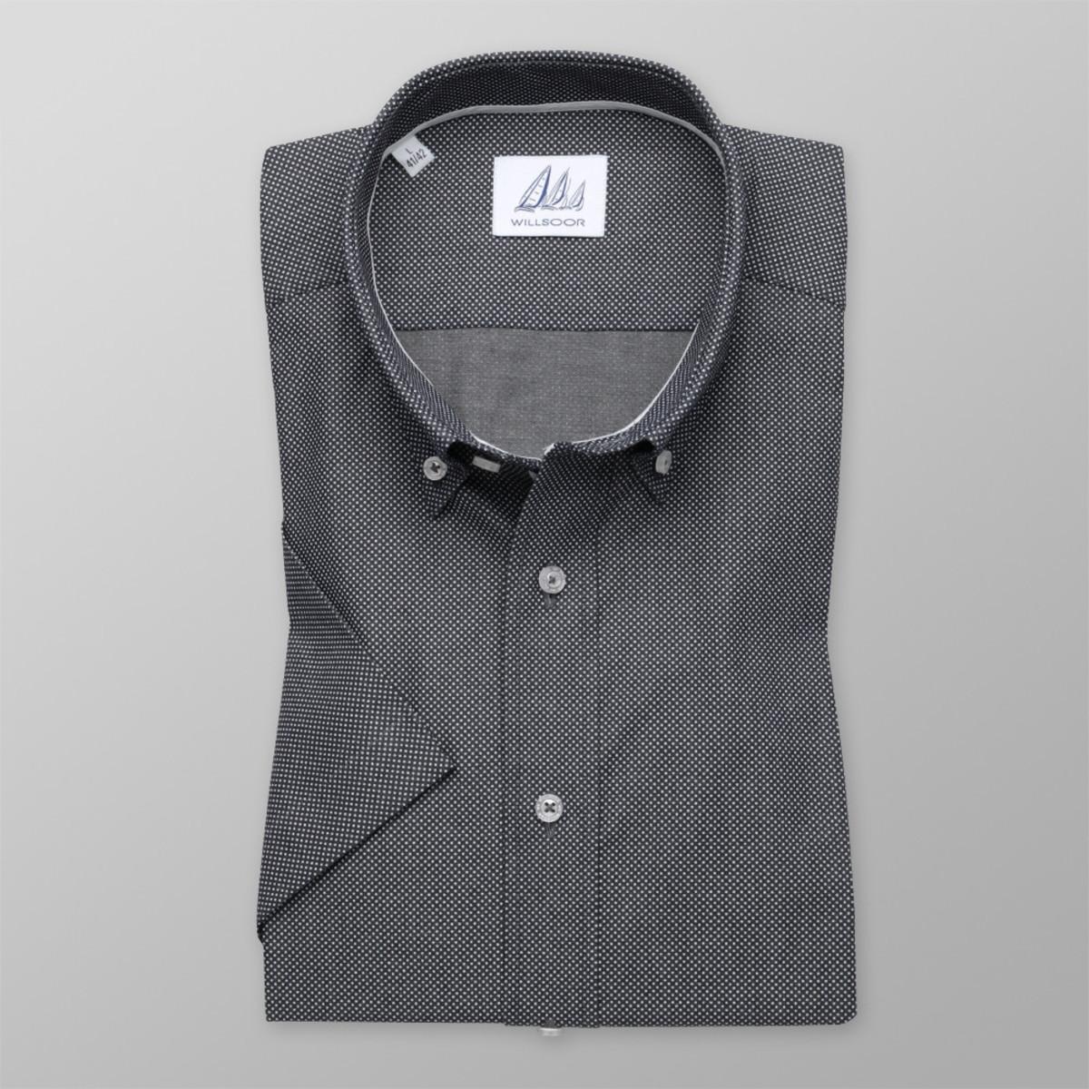 Košeľa Slim Fit tmavo sivá s jemným vzorom (výška 176 - 182) 10486 176-182 / XL (43/44)