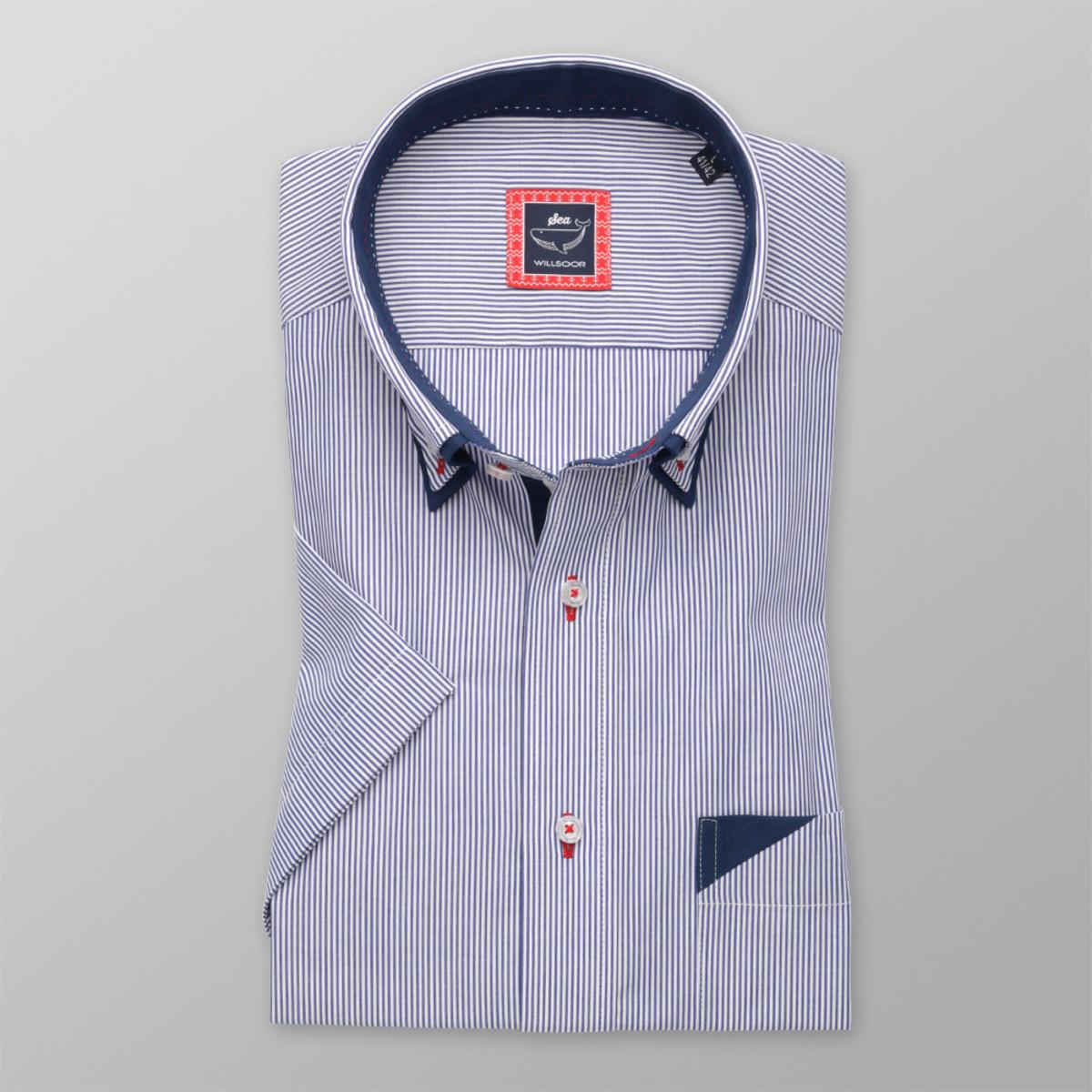 Košeľa Slim Fit modro-biely pruhovaný vzor (výška 176 - 182) 10731 176-182 / M (39/40)