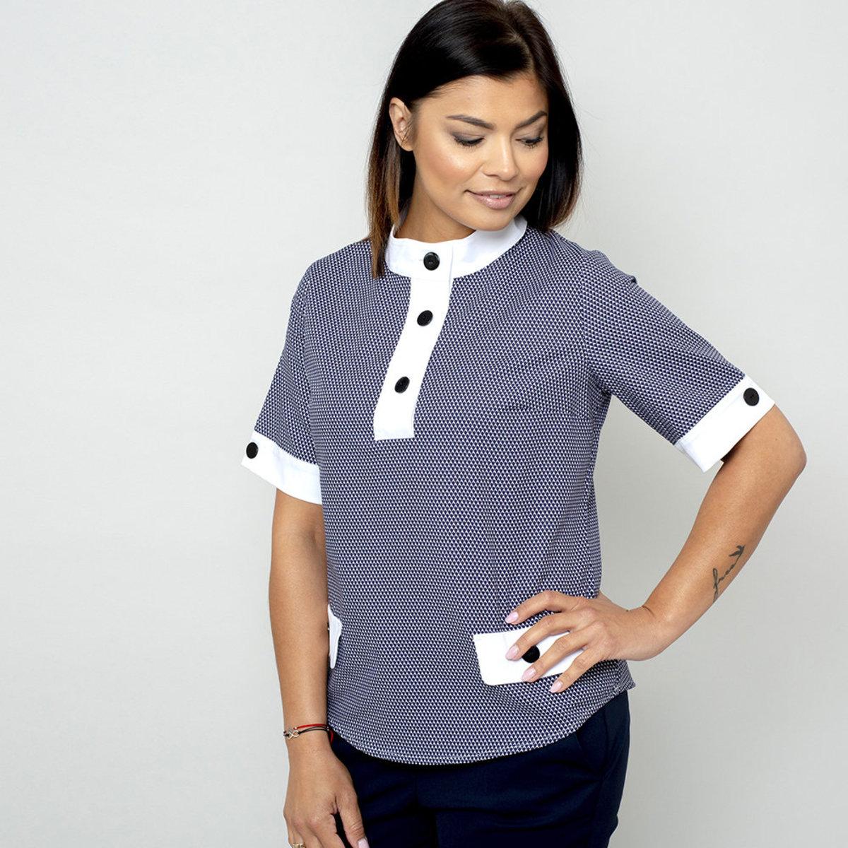 Dámske tričko s jemným modrým vzorom 10830 34