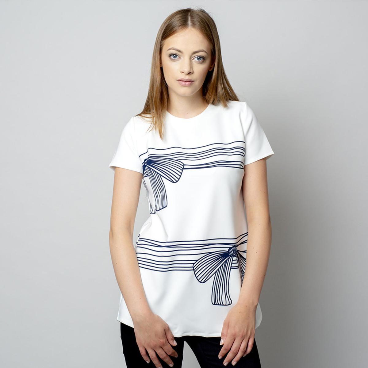 Dámske tričko s tmavo modrou potlačou 10906 36
