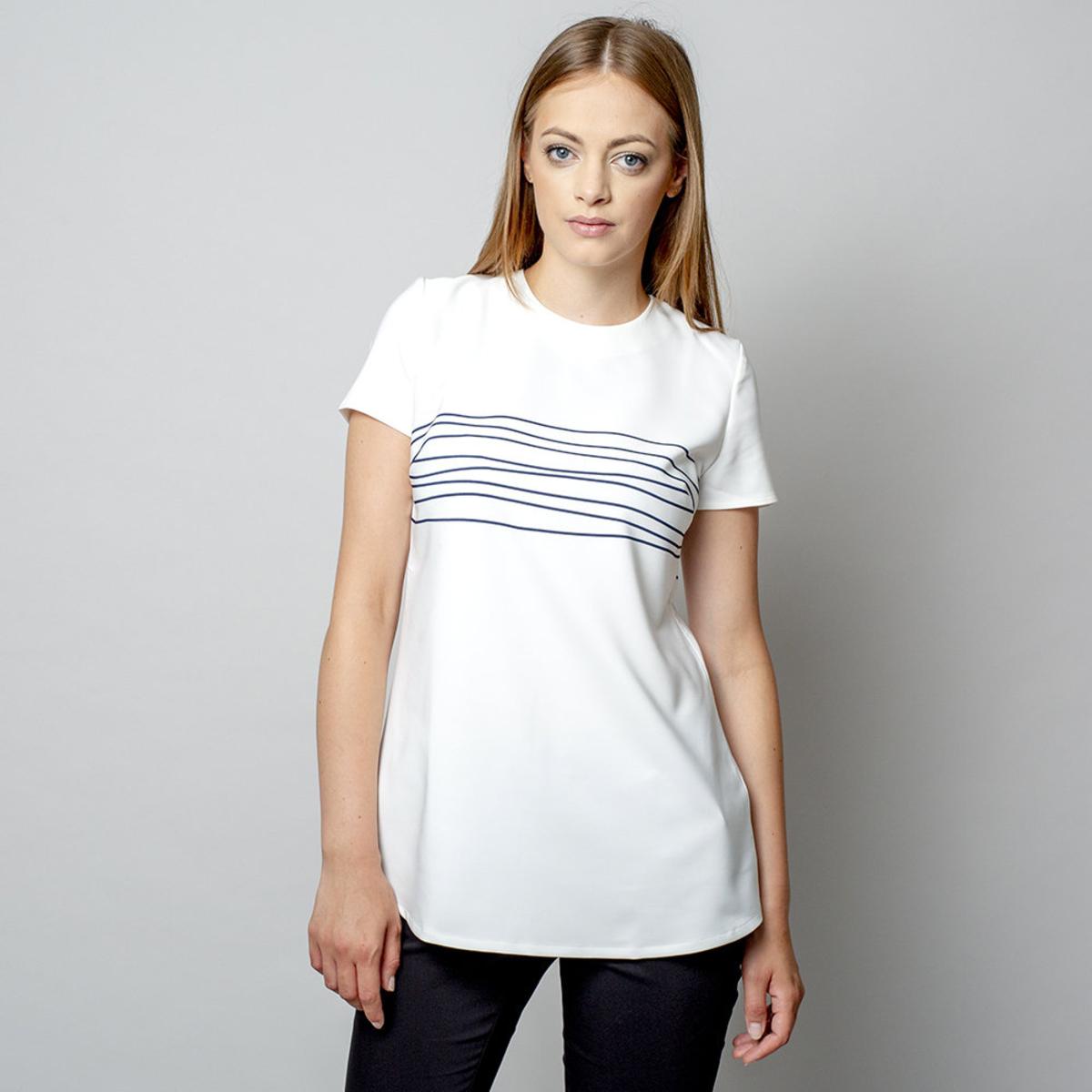 Dámske tričko s pruhovanou potlačou 10907 36