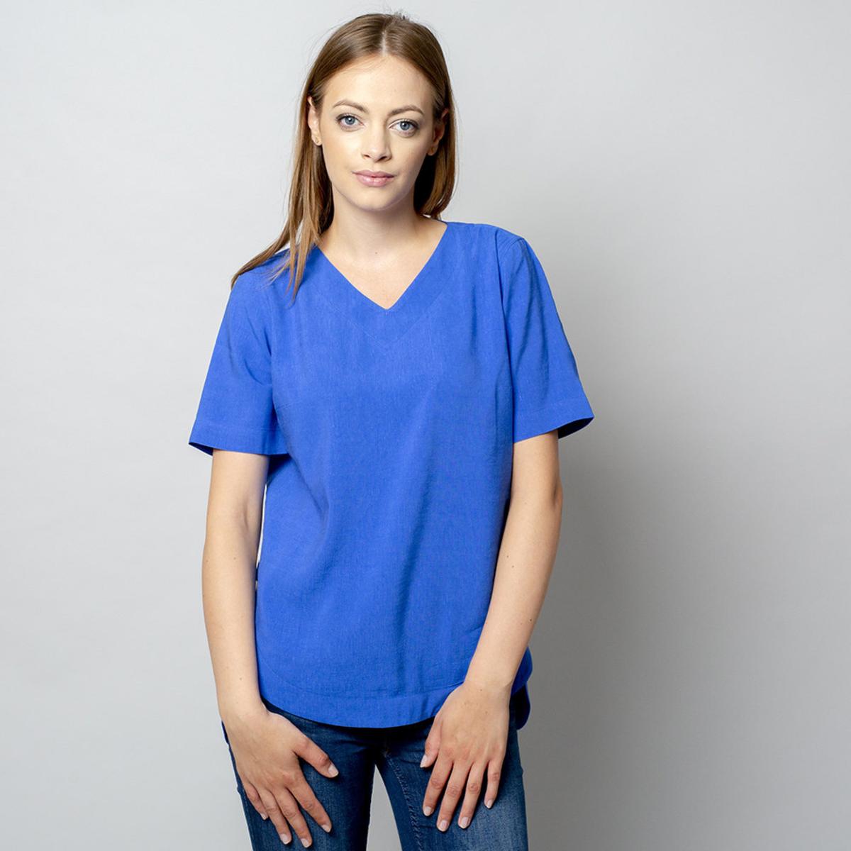 Dámske tričko modrej farby s prídavkom ľanu 10909 34