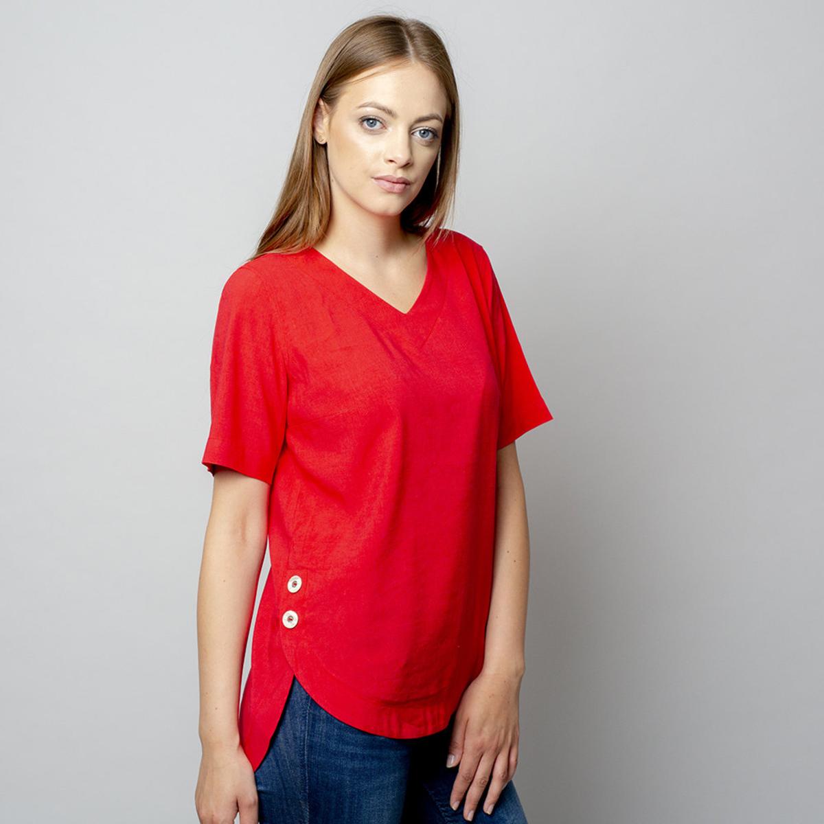 Dámske tričko červenej farby s prídavkom ľanu 10910 34