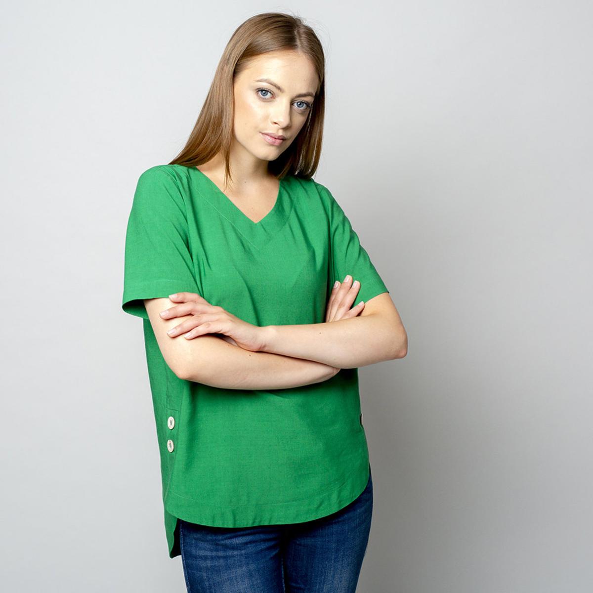 Dámske tričko zelenej farby s prídavkom ľanu 10912 34