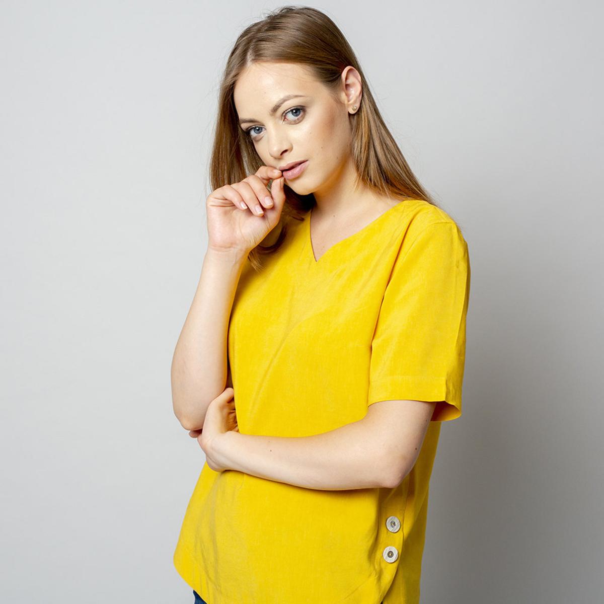 Dámske tričko žltej farby s prídavkom ľanu 10913 34