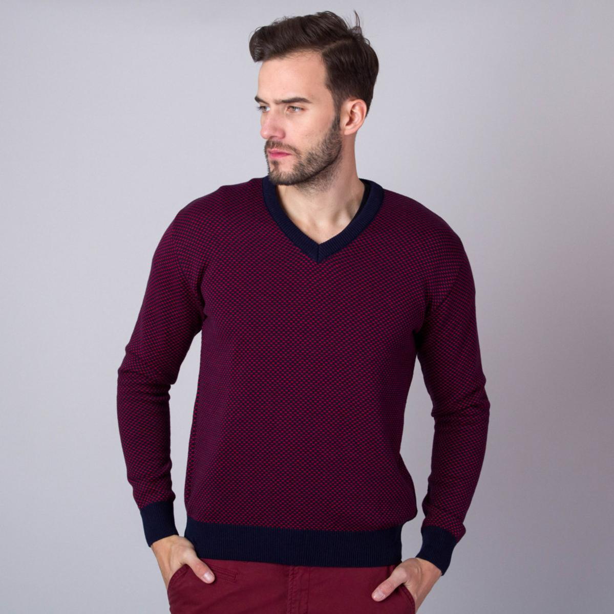 Pánsky sveter s tmavo modrým lemovaním a s jemným vzorom 11146 L