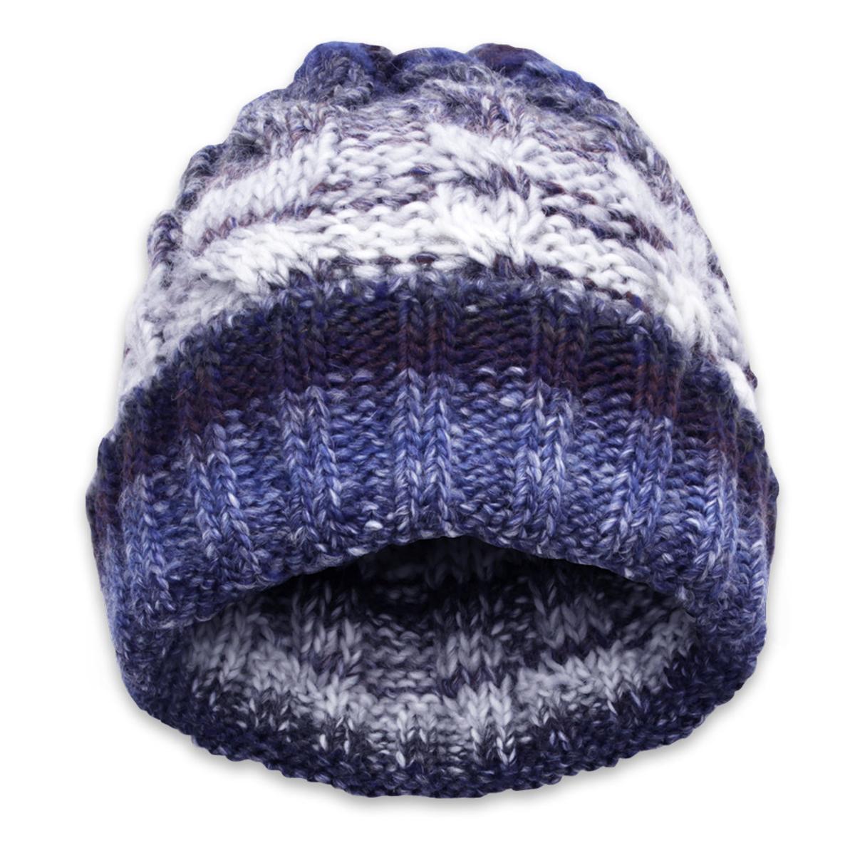 Pletená čiapka tmavo modro-sivá 11156