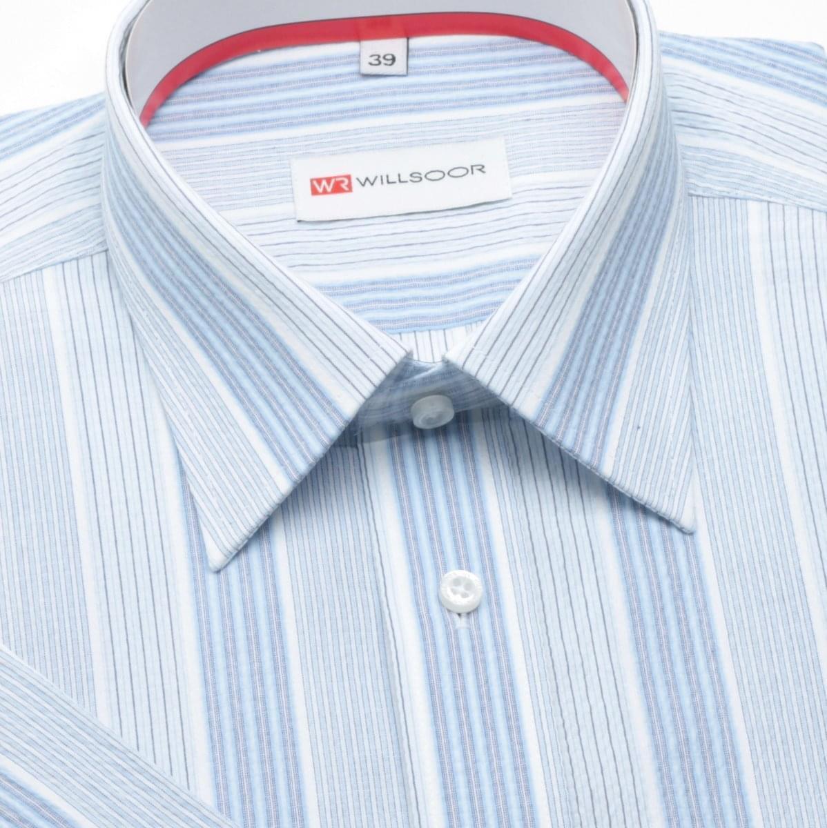 Pánska slim fit košele (výška 176/182) 300 s krátkym rukávom a modrými pásikmi 176-182 / 40