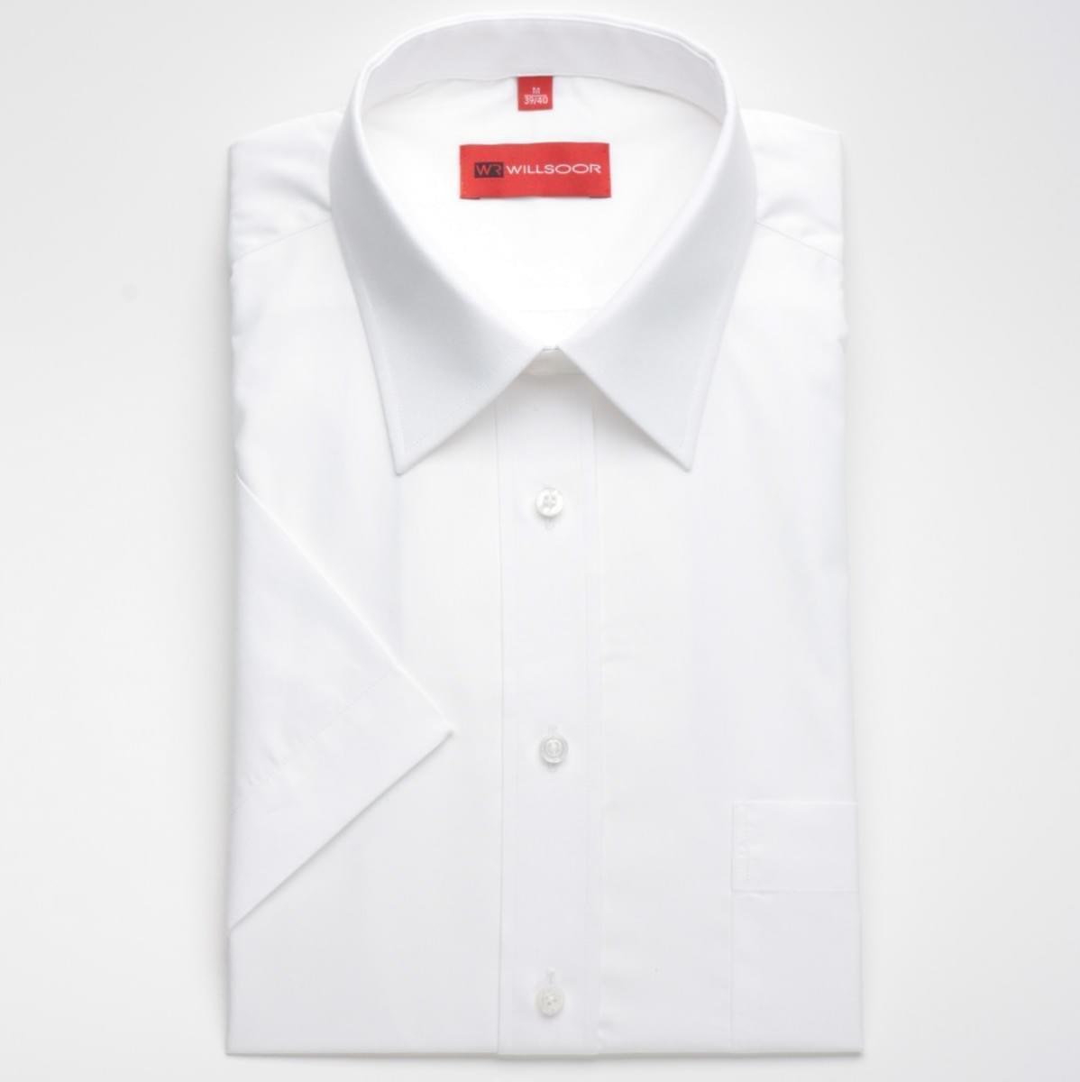 Pánska slim fit košele (výška 176/182) 604 s krátkym rukávom v biele farbe 176-182 / S (37/38)