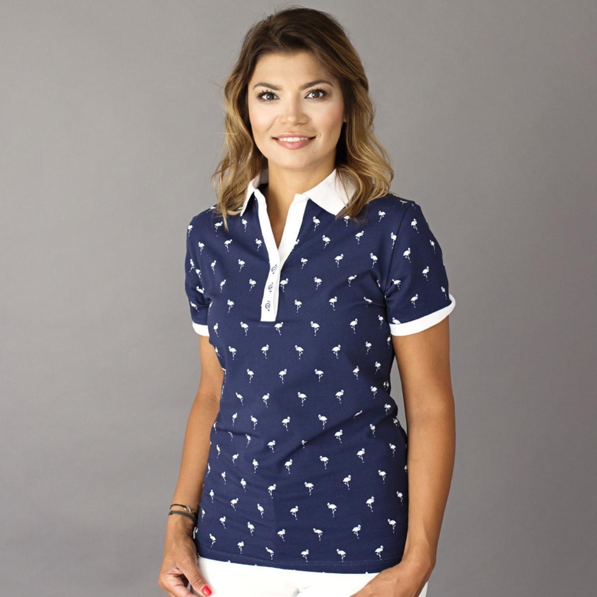 Dámske polo tričko 8118 v modré farbe sa vzorom plameniakov 34