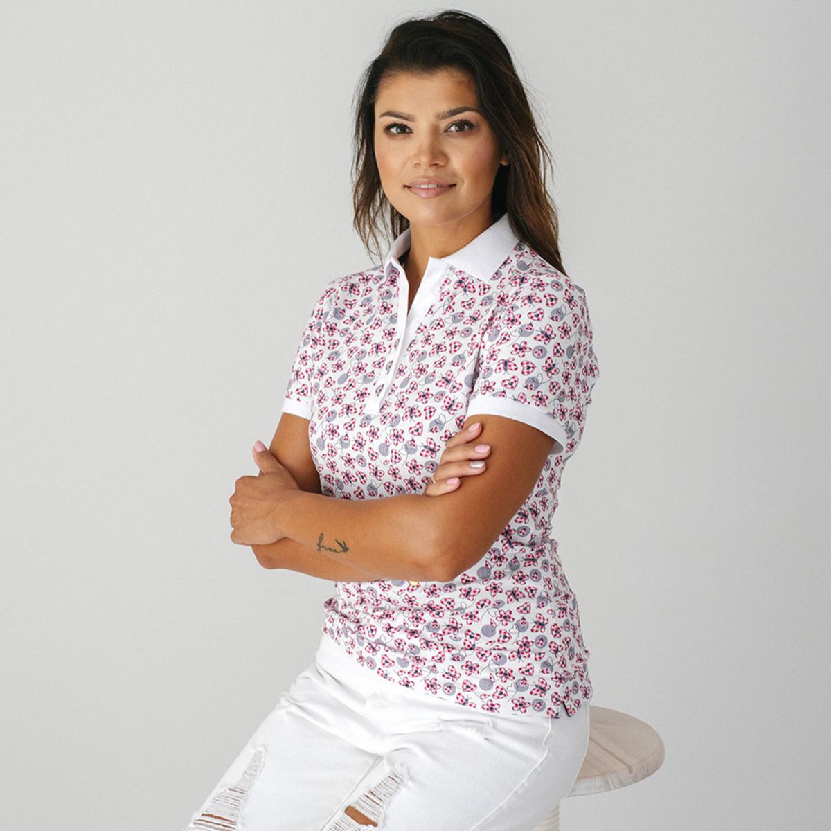 Dámske Polo tričko 9460 sa vzorom kvietkov, motýľov a srdiečok 42