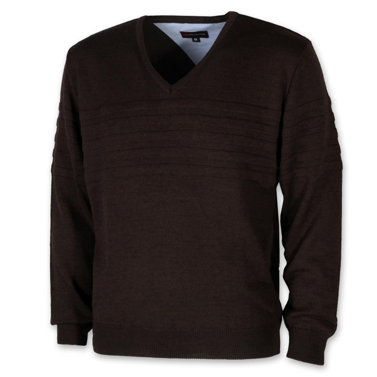 Pánsky hnedý sveter z vlny merinos 10267 M