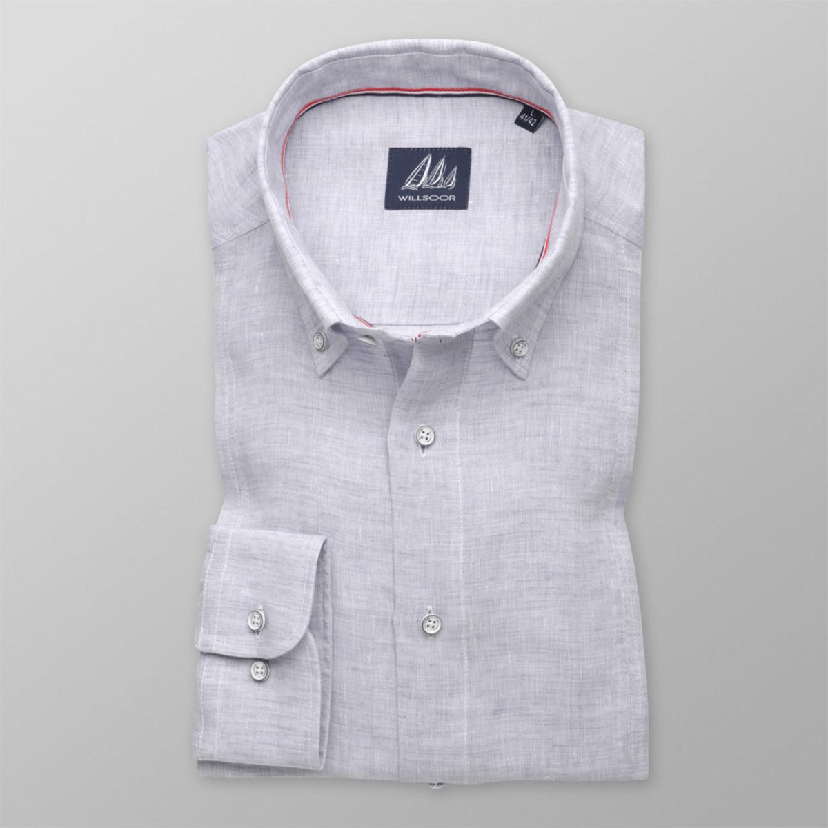Košeľa Slim Fit hladký vzor ľan (výška 176 - 182) 10571 176-182 / XL (43/44)