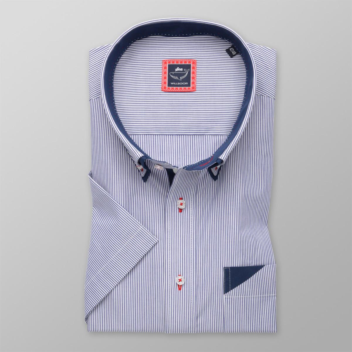 Košeľa klasická modro-biely pruhovaný vzor (výška 176 - 182) 10733 176-182 / 51/52
