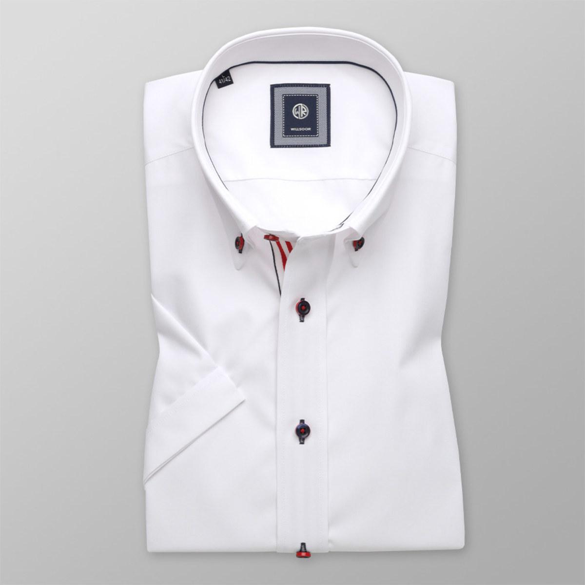 Košeľa Slim Fit biela s hladkým vzorom (výška 176 - 182) 10759 176-182 / M (39/40)