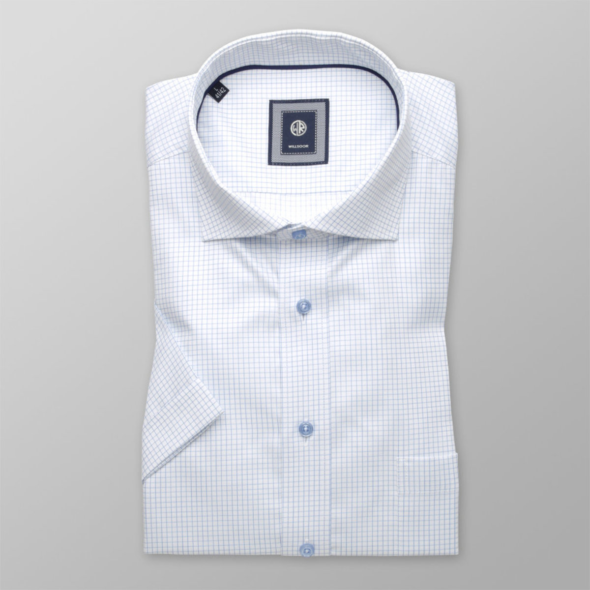 Košeľa klasická s bledo modrým vzorom (výška 176 - 182) 10837 176-182 / XL (43/44)