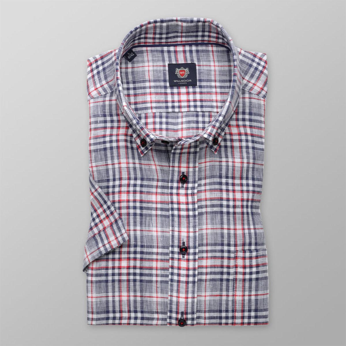 Košeľa London červený a modrý károvaný vzor (výška 176 - 182) 10839 176-182 / XL (43/44)