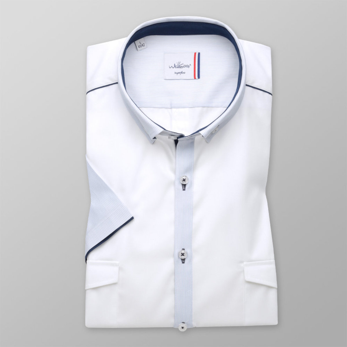 Košeľa Slim Fit biela s modrými prvkami (výška 176 - 182) 10874 176-182 / L (41/42)