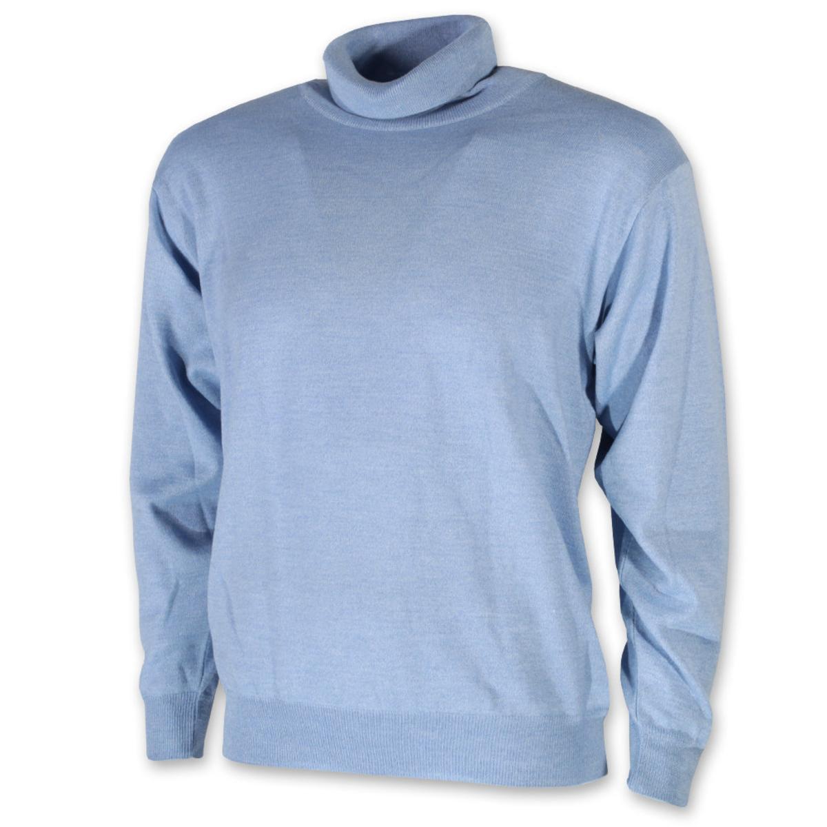 Pánsky sveter s rolákom svetlo modrý 10954 XXL