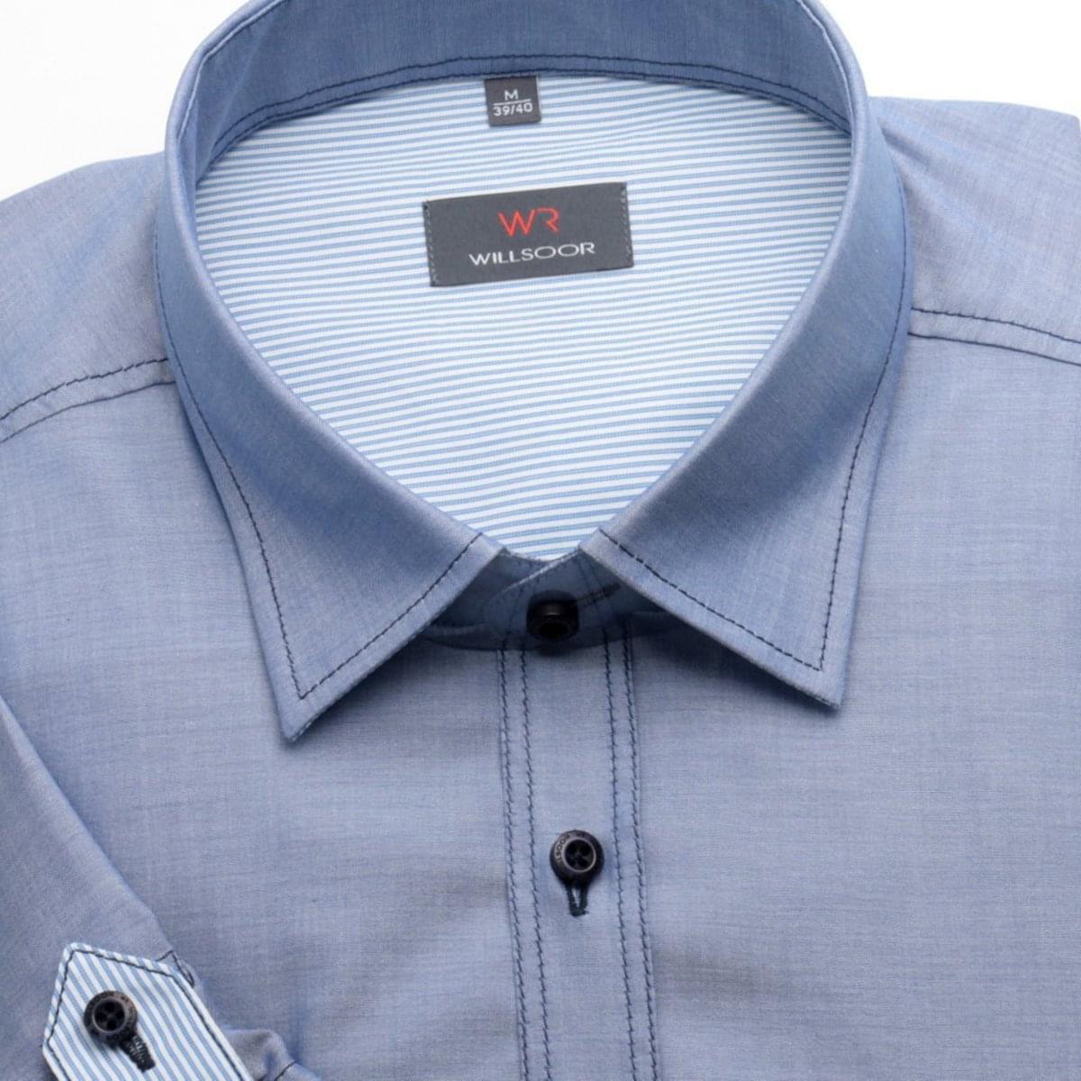 Pánska klasická košeľa s krátkym rukávom (výška 176-182) 1369 v modré farbe 176-182 / M (39/40)