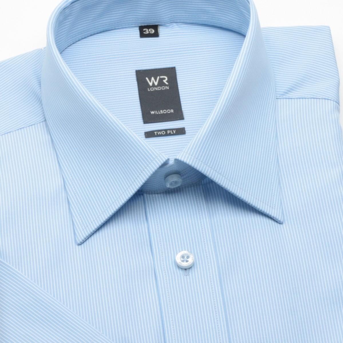 Pánska klasická košeľa s krátkym rukávom (výška 176-182) 308 v modré farbe 176-182 / 39