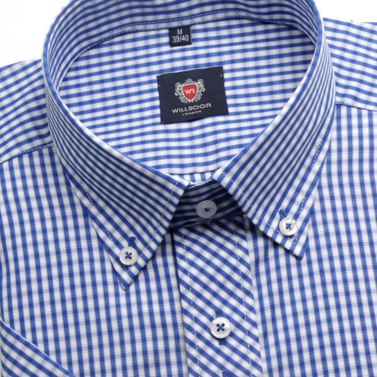 Pánska košele WR London s krátkym rukávom s modro bielou kockou (výška 176-182) 4931 176-182 / L (41/42)