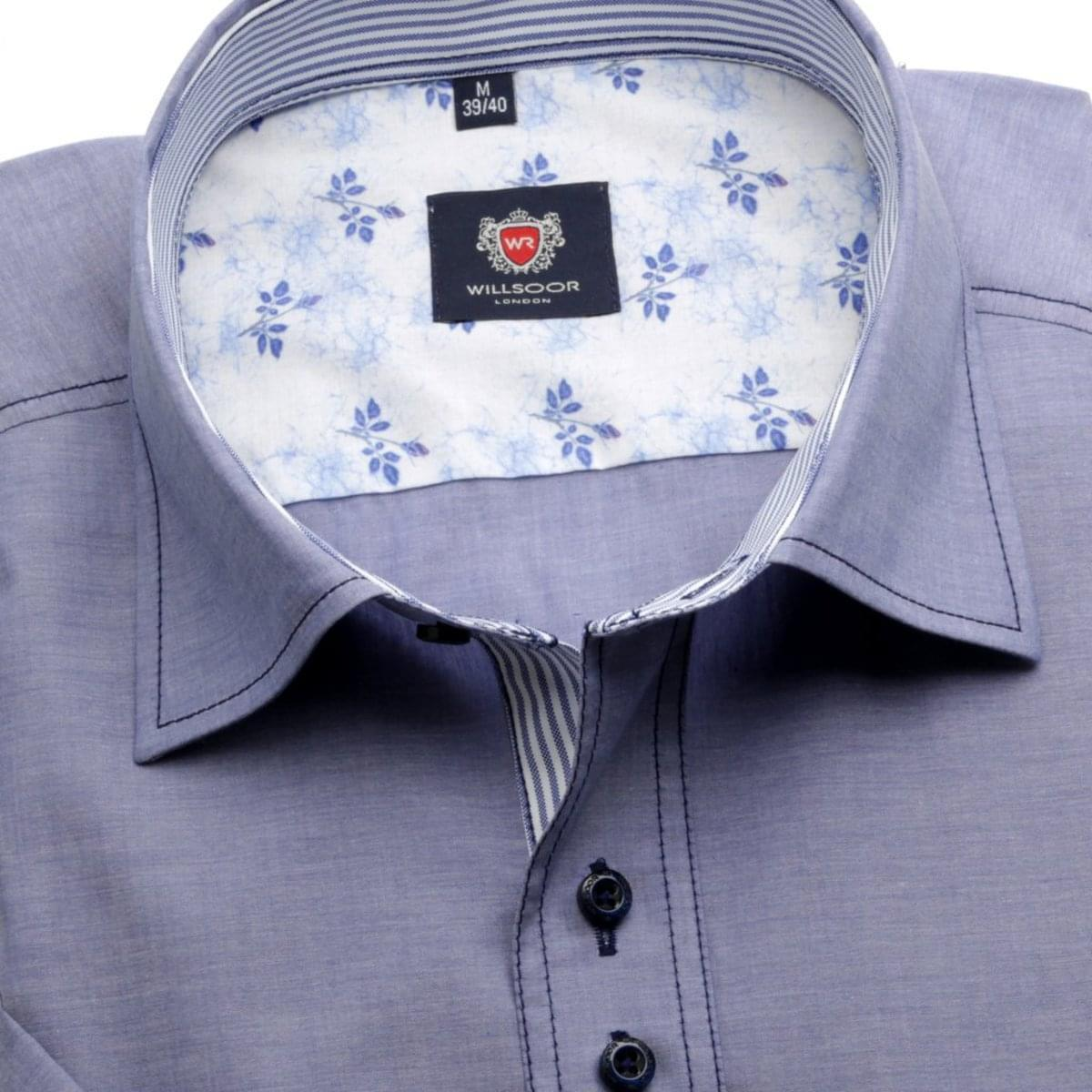Pánska košele WR London s krátkym rukávom v modré farbe (výška 176-182) 5129 176-182 / L (41/42)