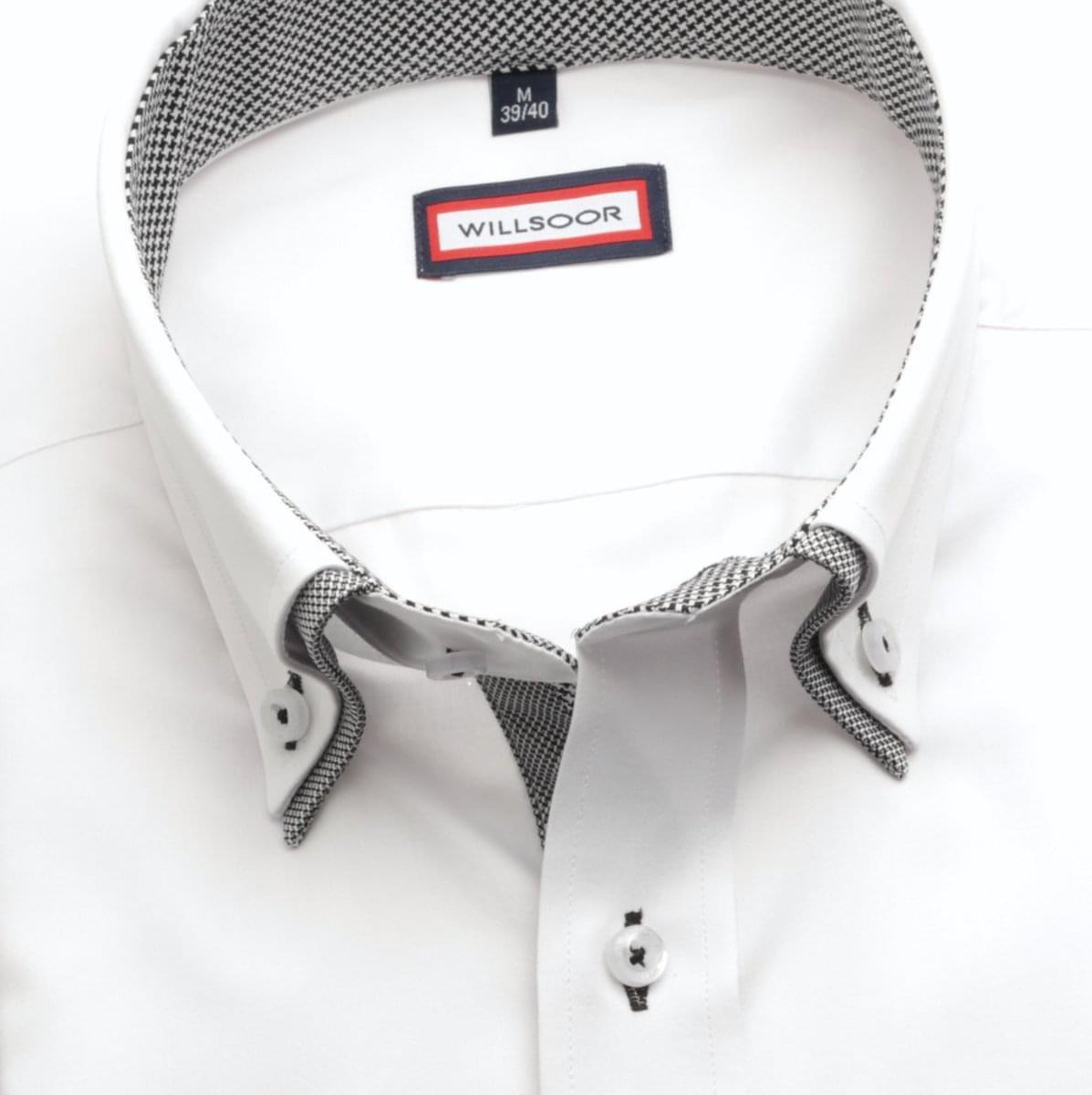 Pánska košele Slim Fit (výška 176-182) 6130 v biele farbe s golierikom na gombíky 176-182 / XL (43/44)