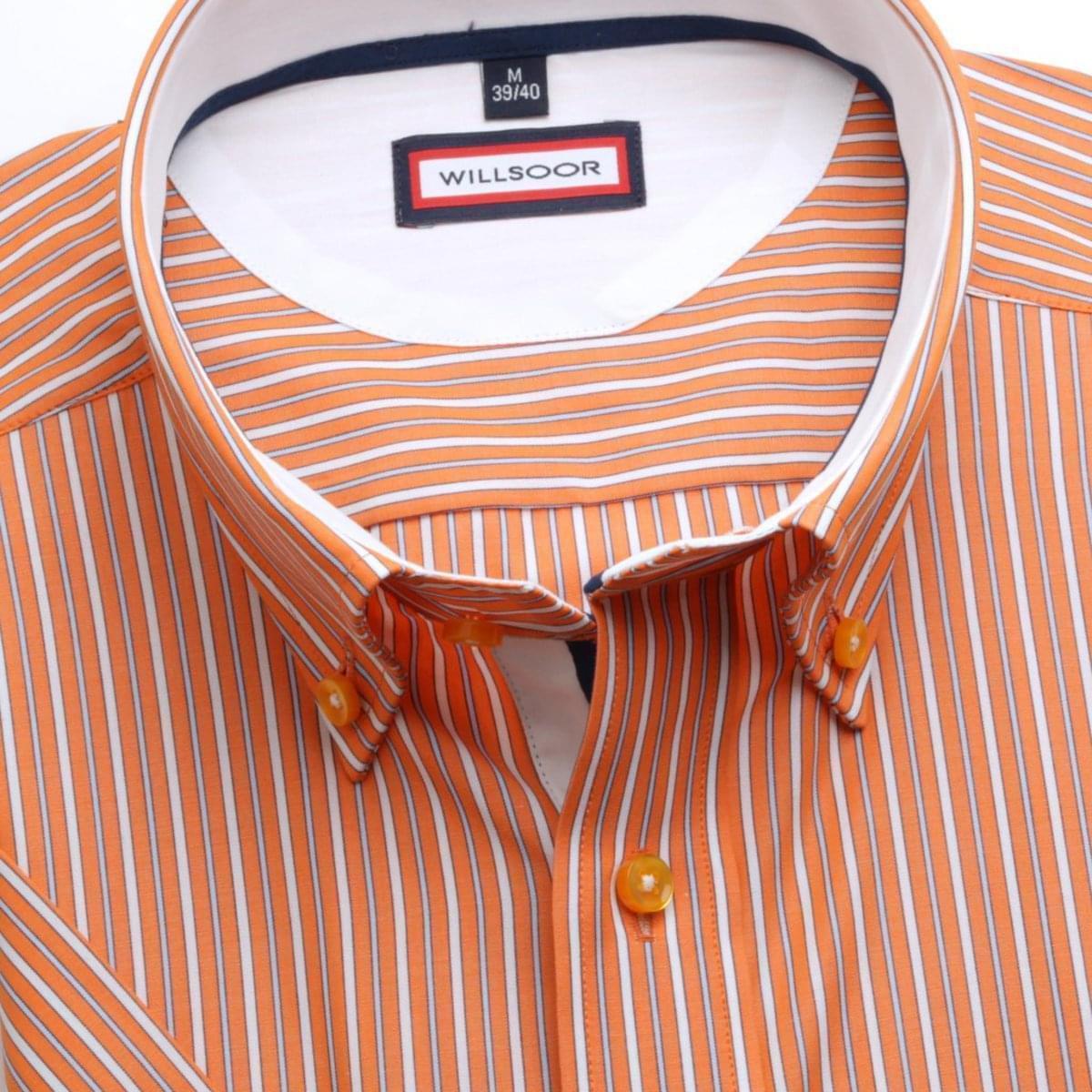 Pánska slim fit košele (výška 176-182) 6270 s pásikom, golierikom na gombíky a krátkym rukávom 176-182 / M (39/40)