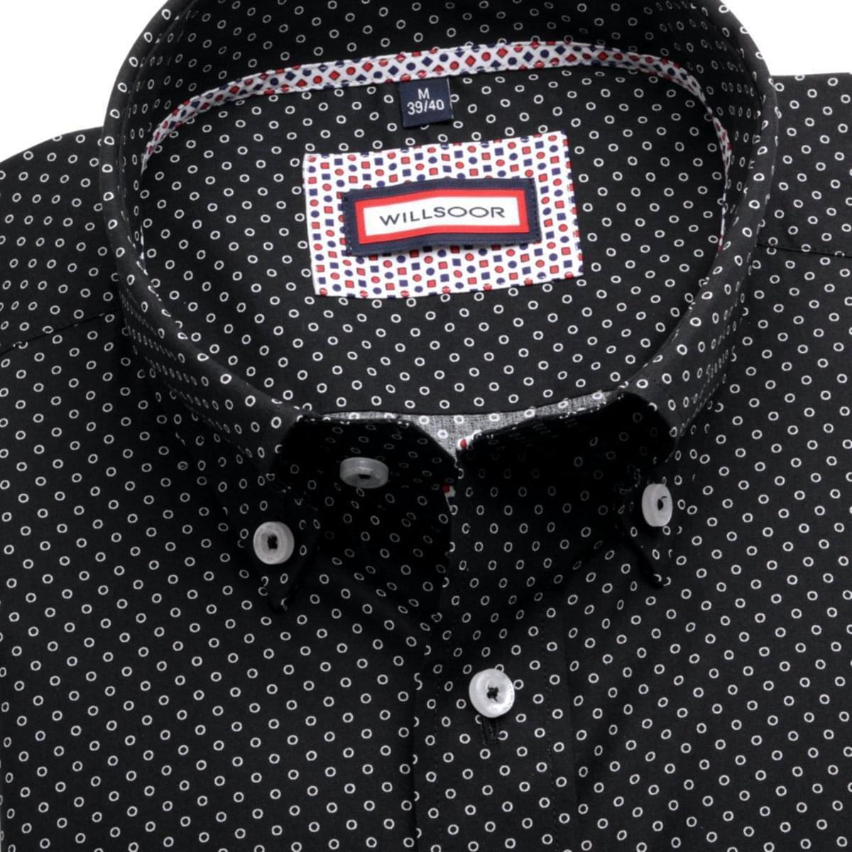 Pánska slim fit košele (výška 176-182) 6362 v čierne farbe s golierikom na gombíky 176-182 / L (41/42)