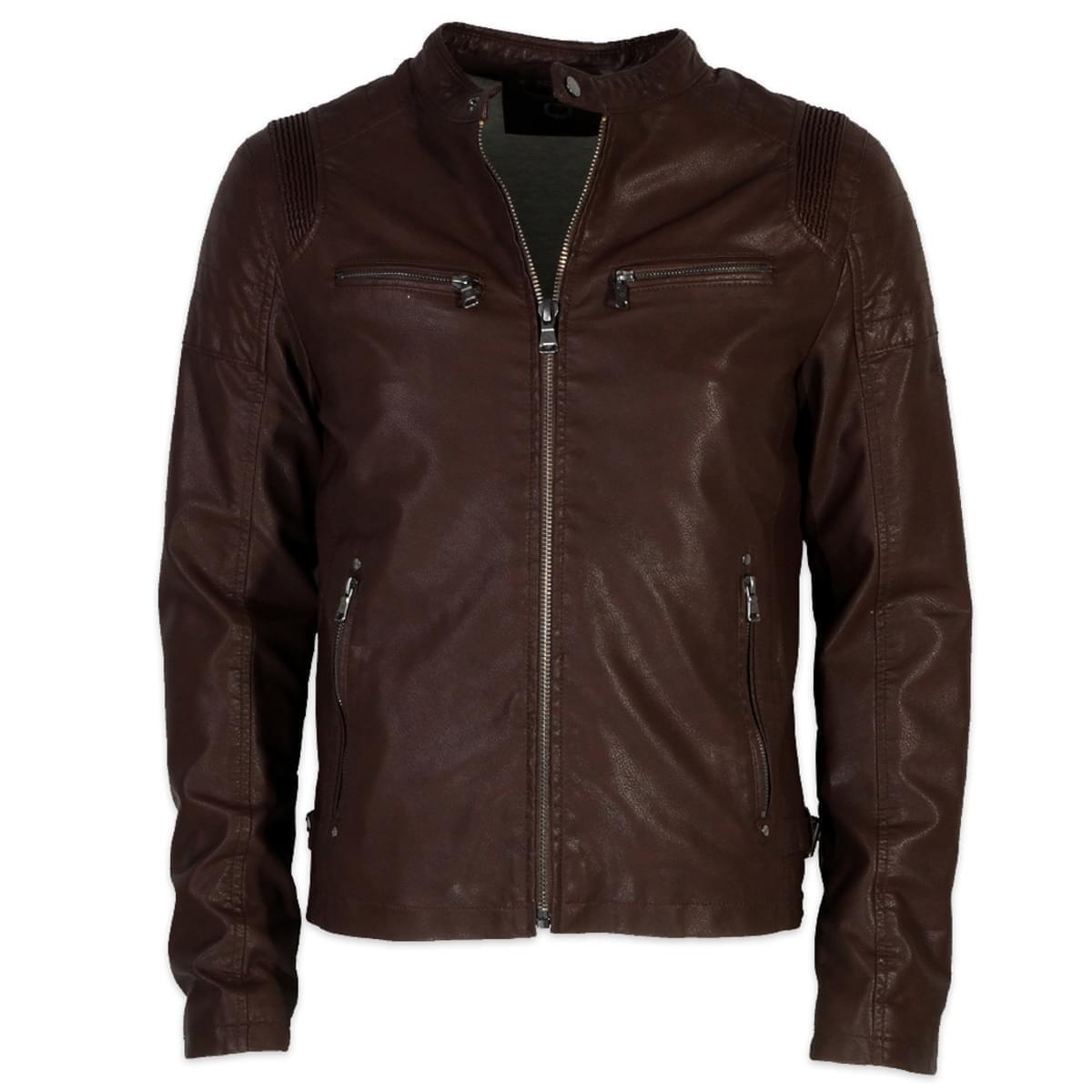 Pánska bunda z ekologické koža Donders 6378 v hnedé farbe 3XL