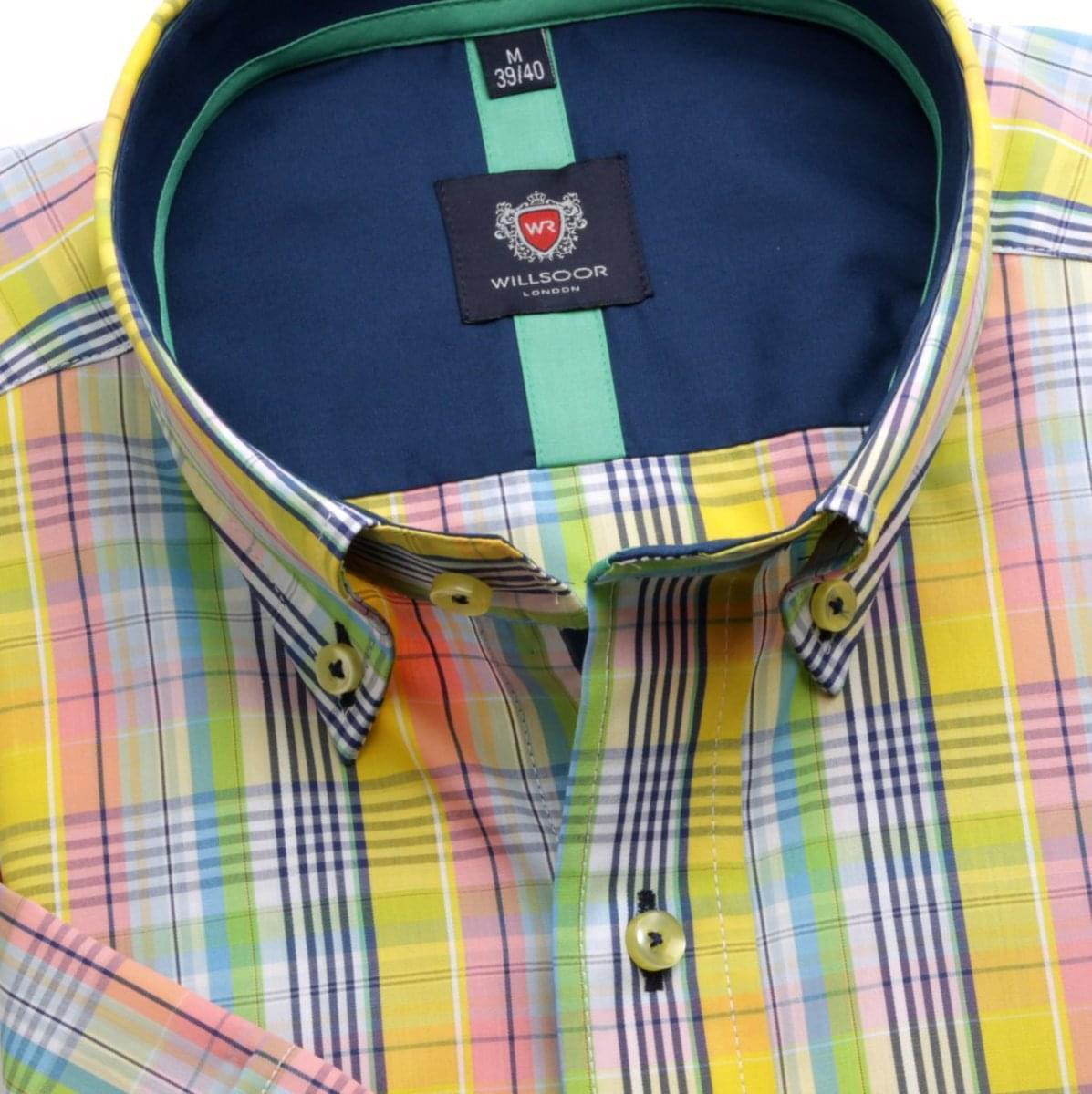 Pánska slim fit košele London (výška 176-182) 6453 s farebnú kockou a golierikom na gombíky 176-182 / M (39/40)