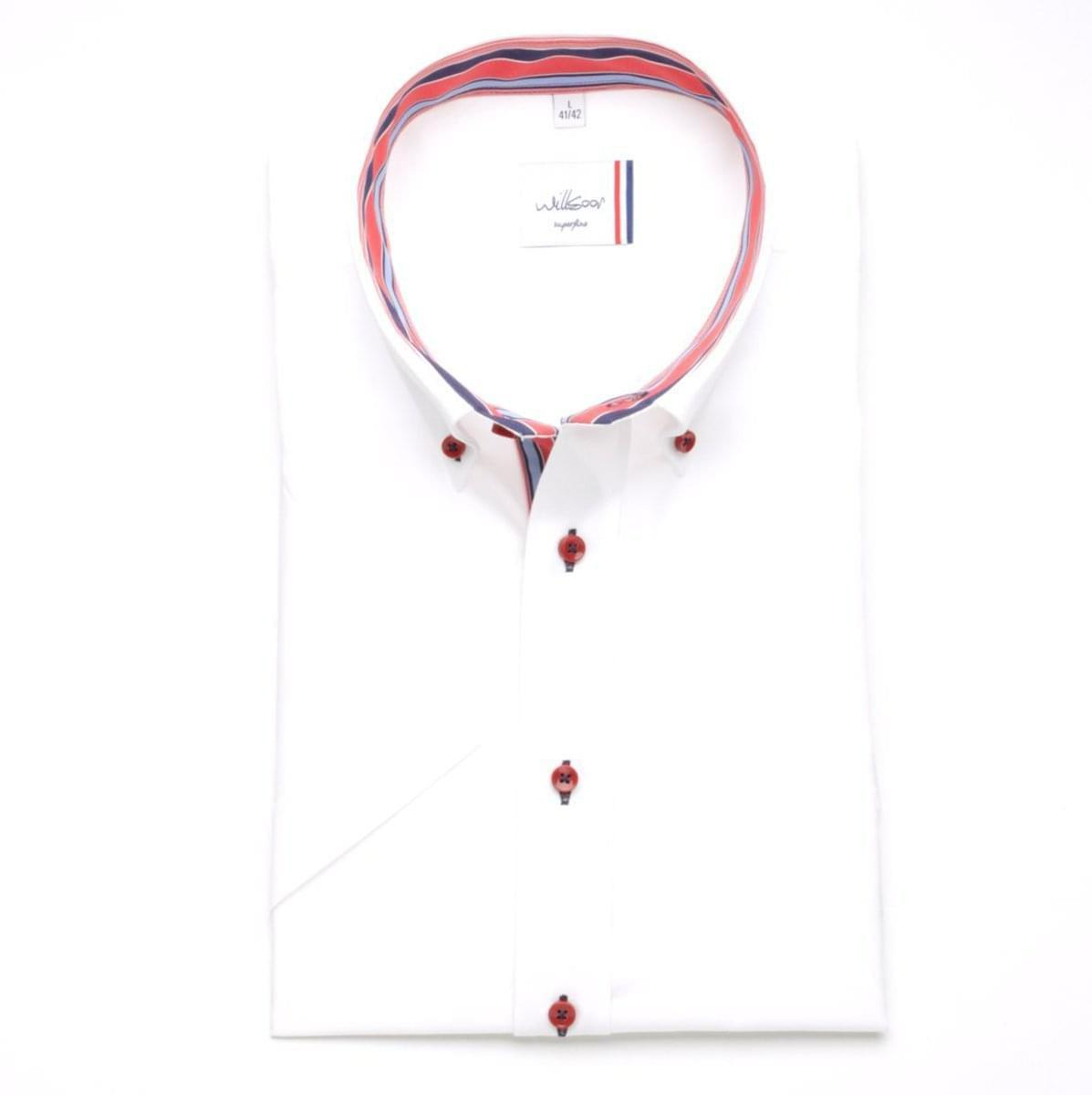 Pánska klasická košele (výška 176-182) 6472 s krátkym rukávom v biele farbe 176-182 / XXL (45/46)