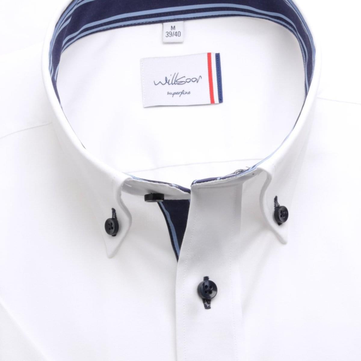 Pánska slim fit košele (výška 176-182) 6475 v biele farbe s golierikom na gombíky 176-182 / M (39/40)