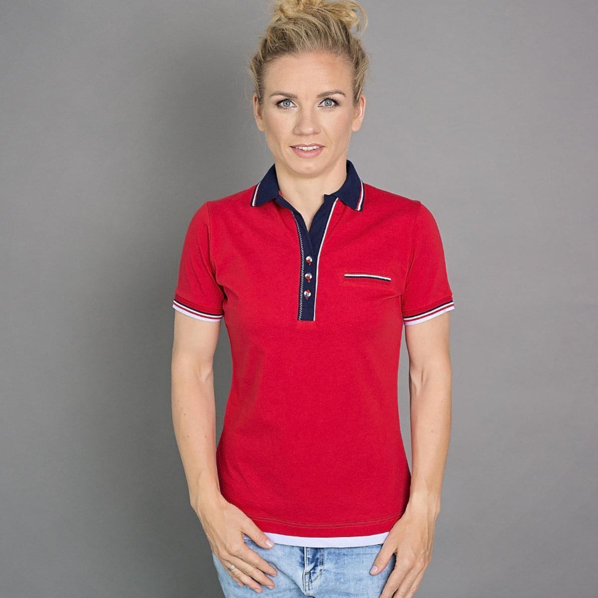 Dámske polo tričko 6505 v červené farbe s modrým golierikom 38