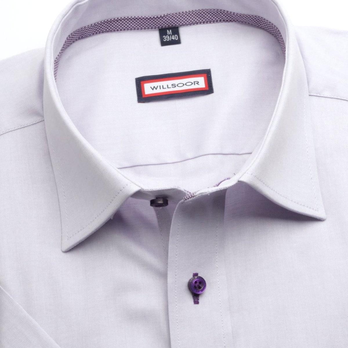 Pánska klasická košeľa (výška 176-182) 6614 s krátkym rukávom vo svetlo fialové farbe 176-182 / L (41/42)