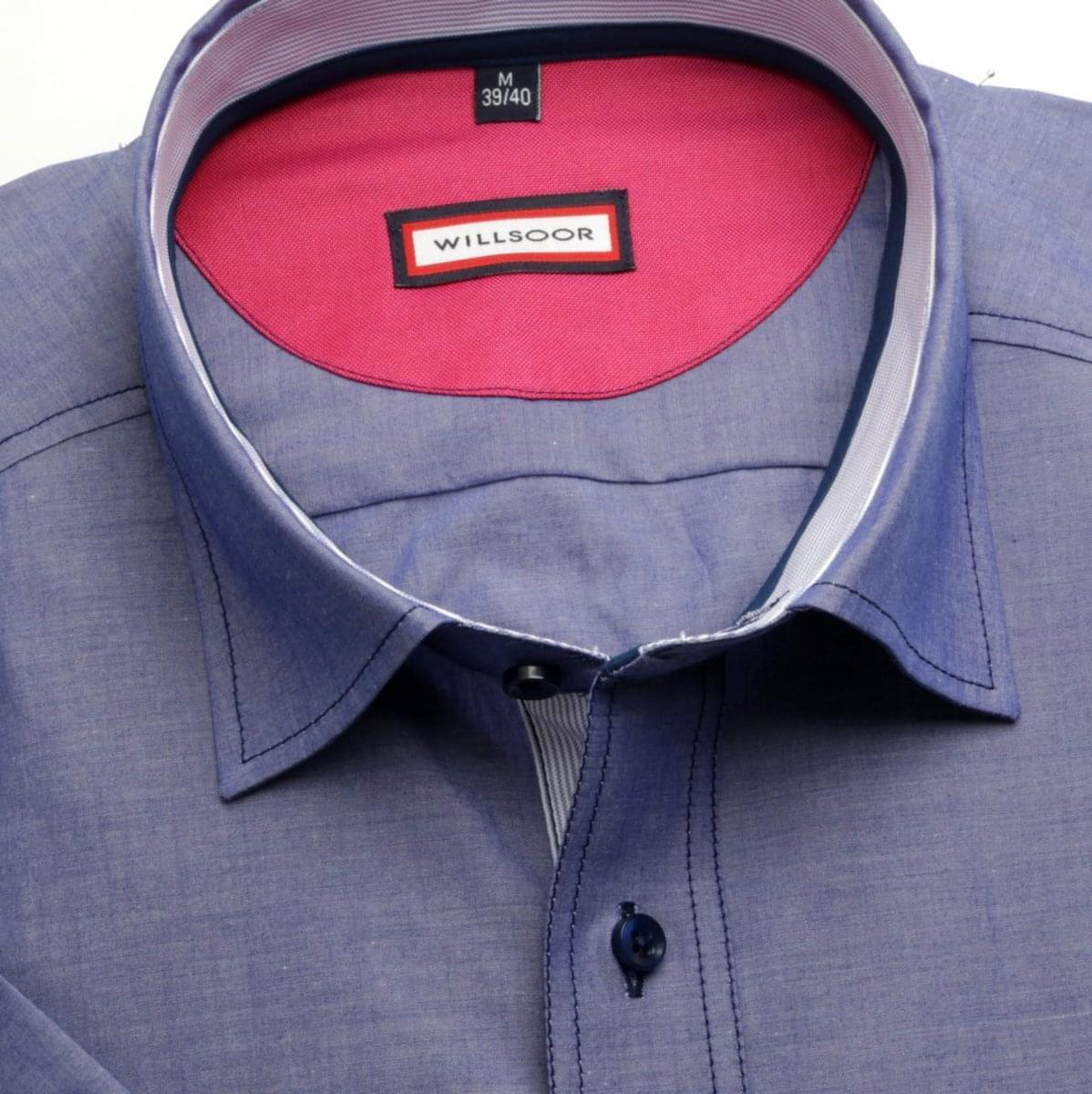 Pánska klasická košeľa (výška 176-182) 6632 s krátkym rukávom v modré farbe 176-182 / L (41/42)