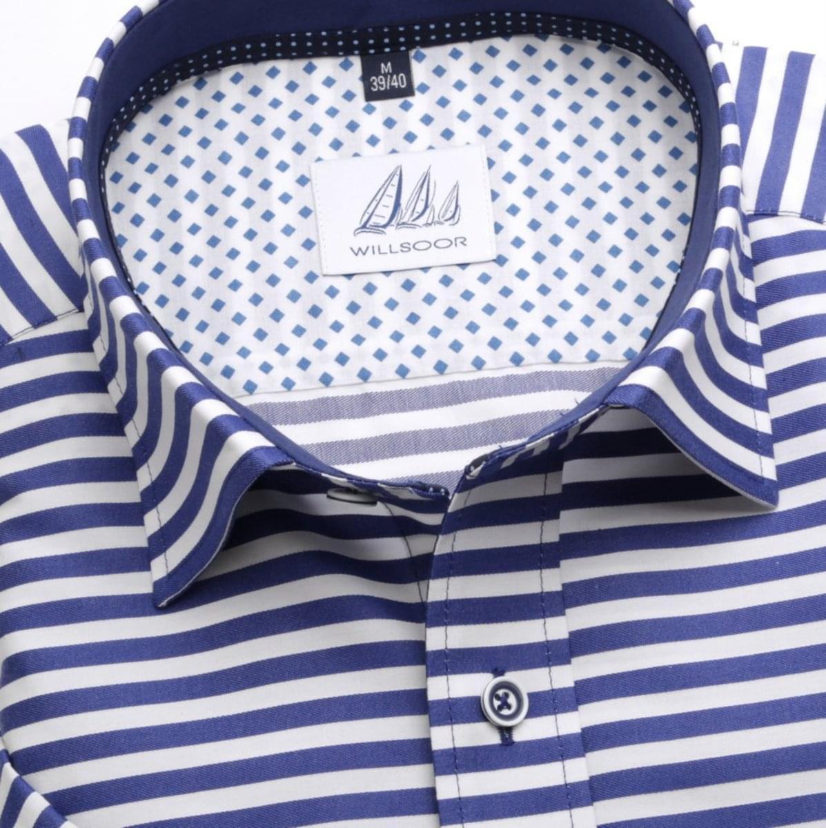 Pánska klasická košeľa (výška 176-182) 6654 s pásikmi a krátkym rukávom 176-182 / L (41/42)