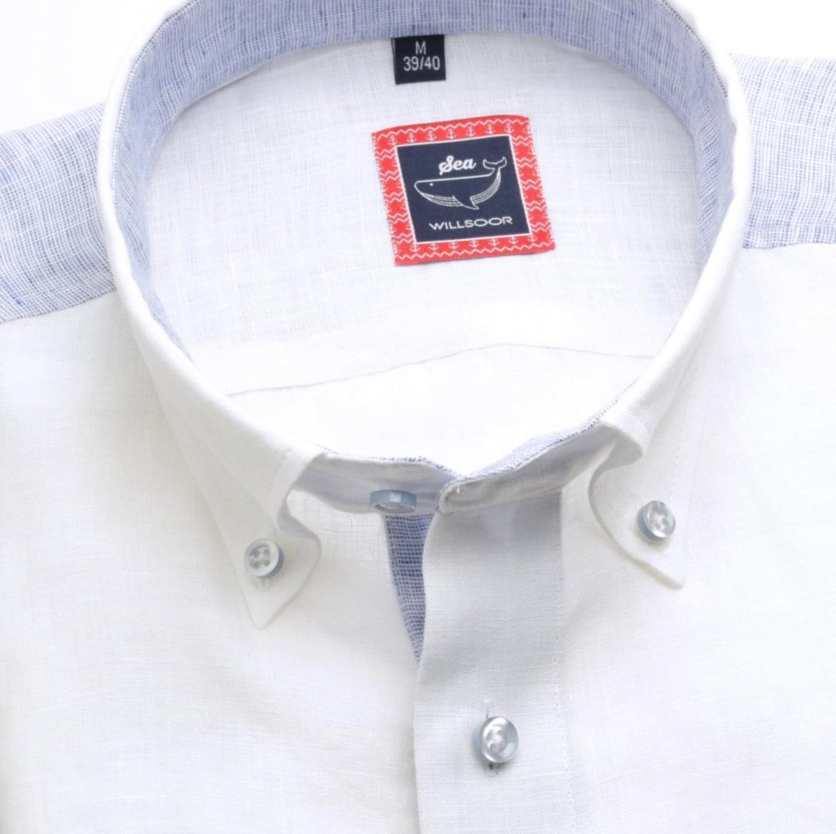 Pánska slim fit košeľa (výška 176-182) 6666 v biele farbe s golierikom na gombíky 176-182 / L (41/42)