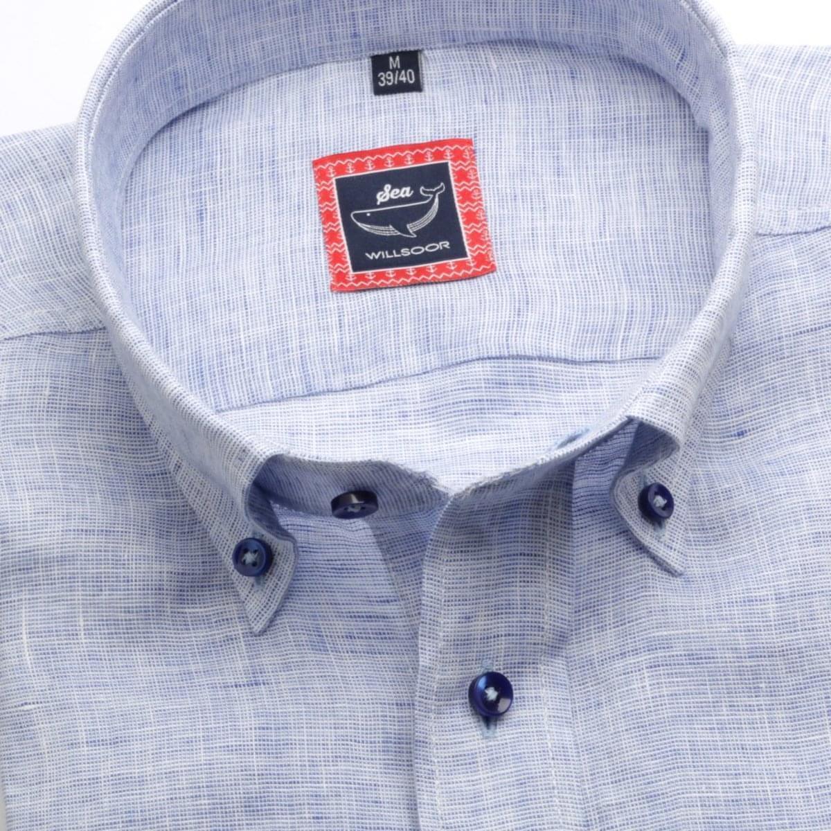 Pánska klasická košeľa (výška 176-182) 6668 vo svetlo modré farbe s golierikom na gombíky 176-182 / L (41/42)