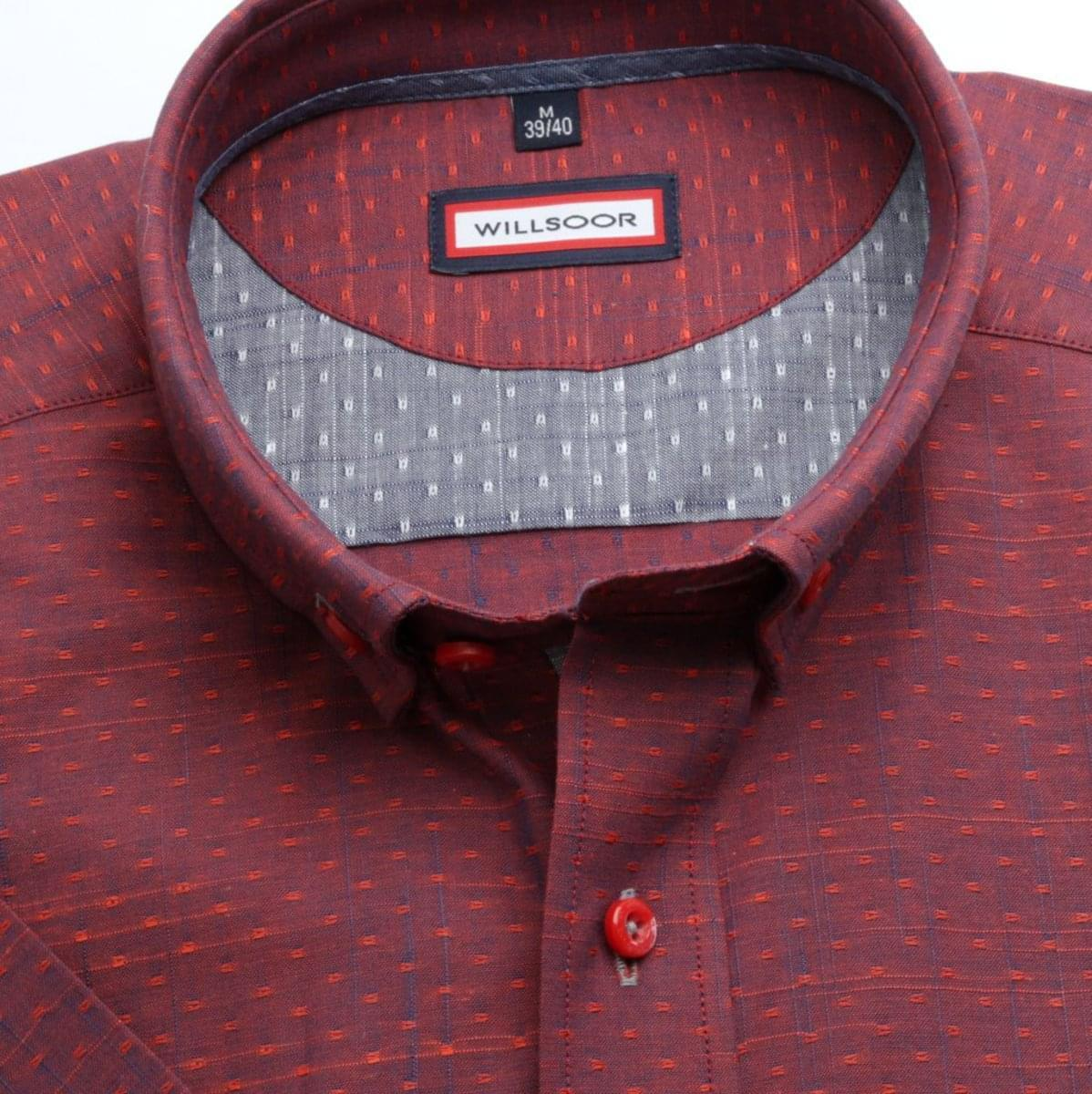 Pánska slim fit košeľa (výška 176-182) 6711 v červené farbe s krátkym rukávom 176-182 / M (39/40)