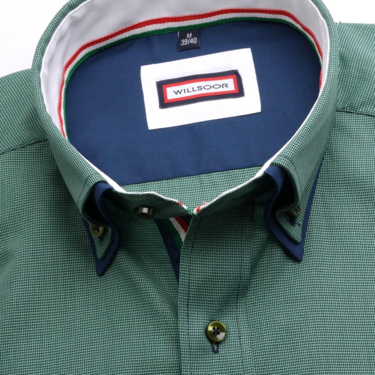 Pánska klasická košeľa (výška 176-182) 6790 v zelené farbe s dvojitým golierikom na gombíky 176-182 / L (41/42)