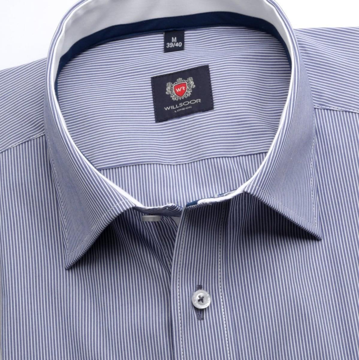 Pánska klasická košeľa London (výška 176-182) 6880 v modré farbe s bielym pásikom 176-182 / L (41/42)