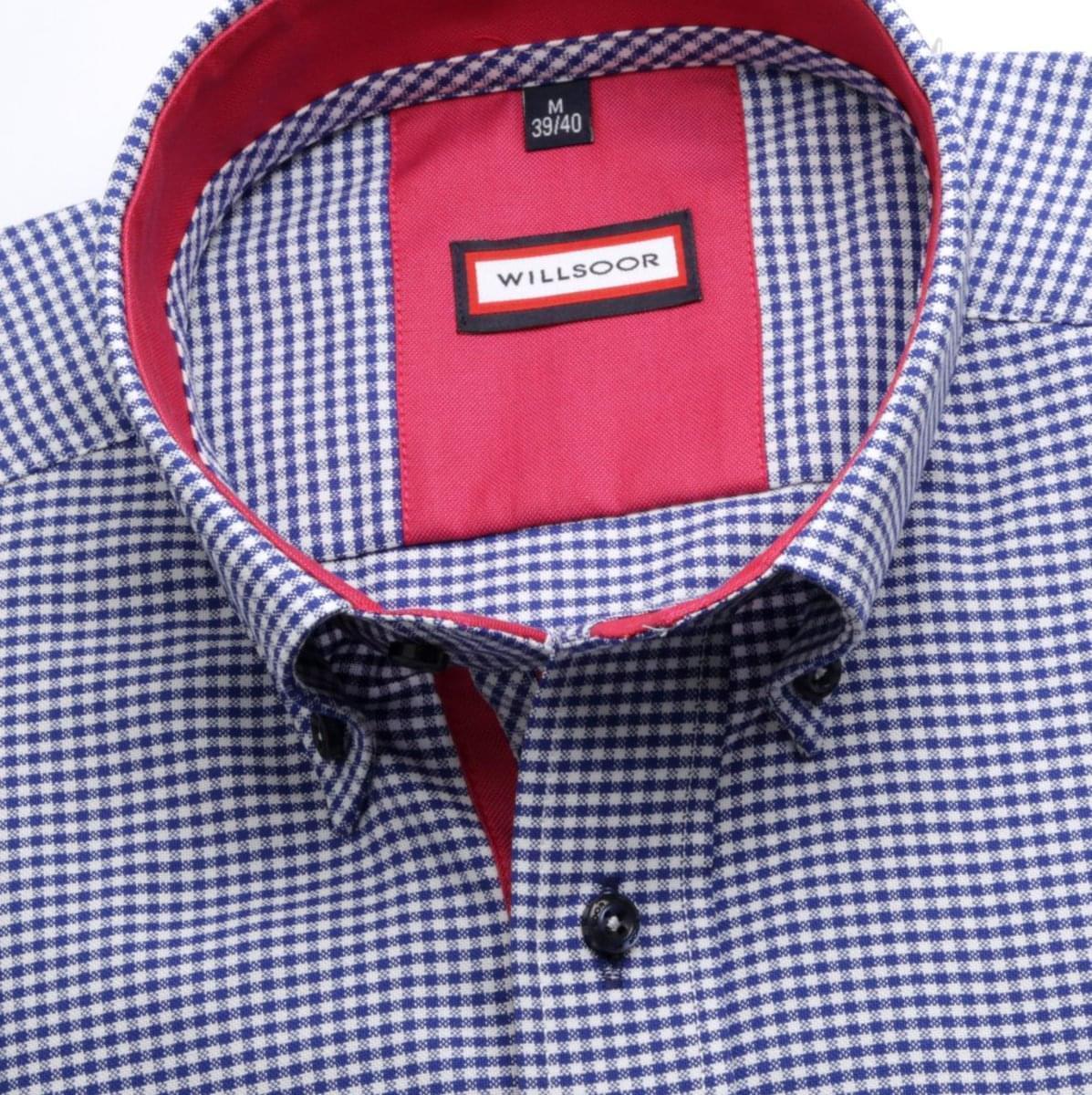 Pánska slim fit košeľa (výška 164-170) 6917 s kockou a golierikom na gombíky 164-170 / M (39/40)