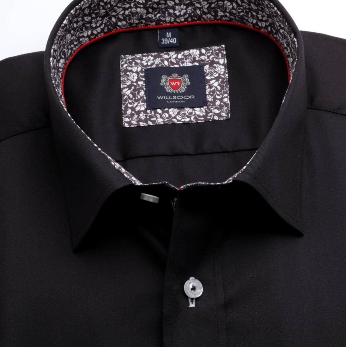 Pánska klasická košeľa London (výška 176-182) 7020 v čierne farbe s formulou 2W Plus 176-182 / L (41/42)