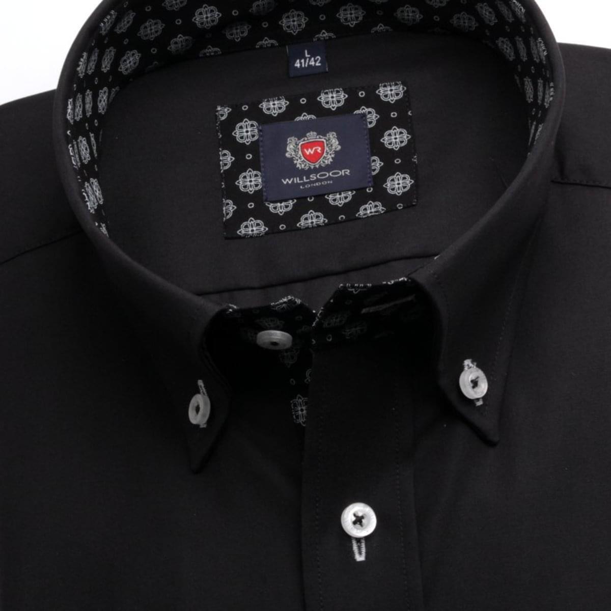 Pánska klasická košeľa London (výška 176-182) 7403 v čierne farbe s úpravou 2W Plus 176-182 / L (41/42)