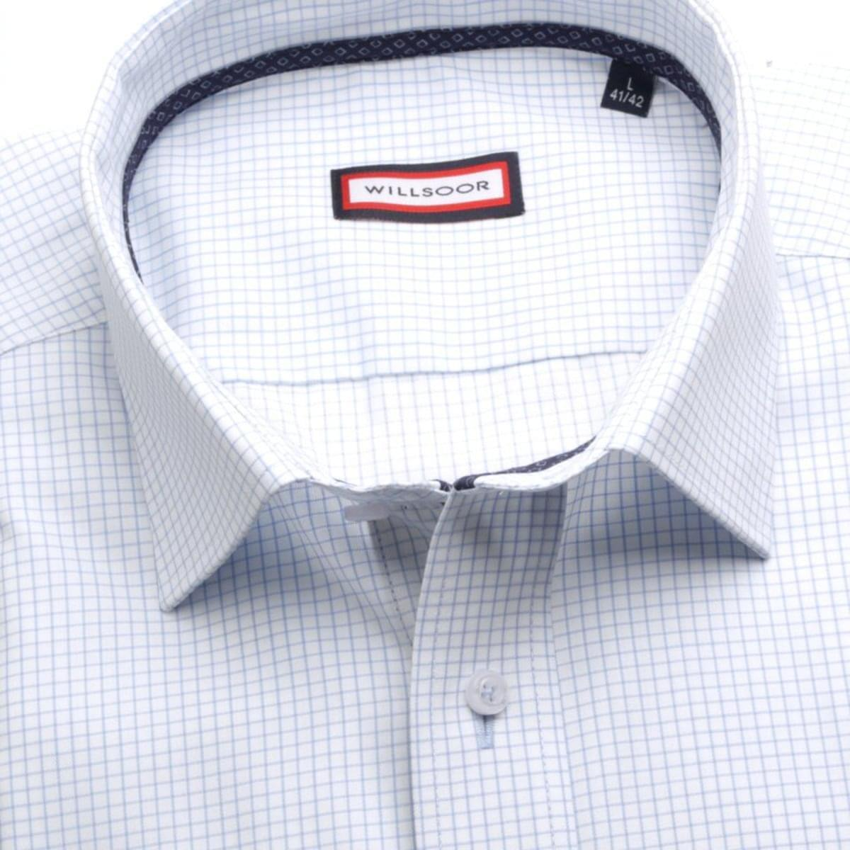 Pánska klasická košeľa (výška 176-182) 7417 v biele farbe s kockou 176-182 / L (41/42)