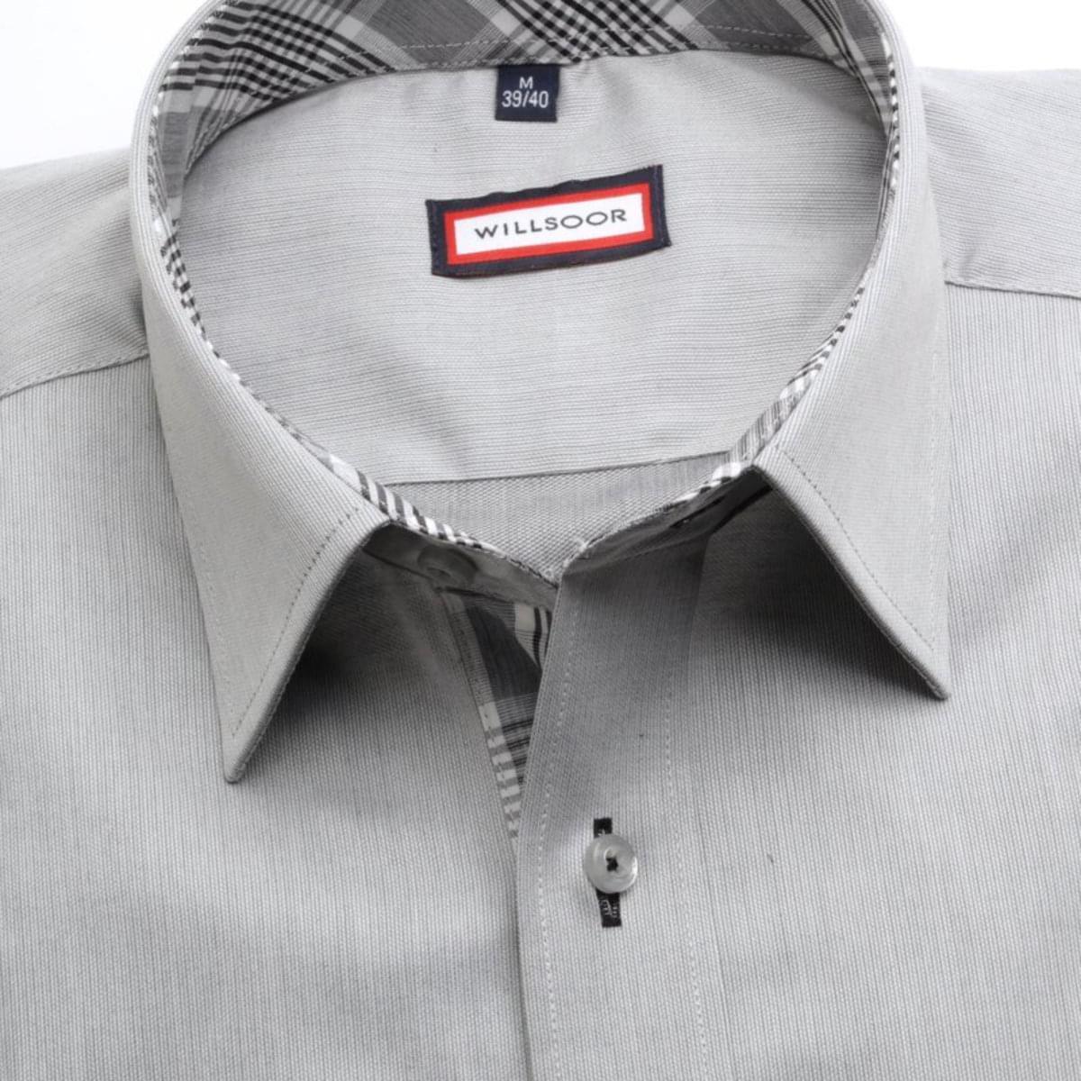 Pánska klasická košeľa (výška 176-182) 7439 v šedé farbe 176-182 / L (41/42)